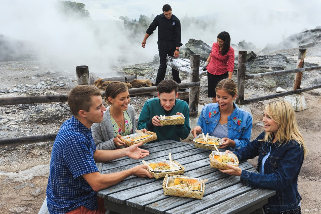 Hangi Dinner, Te Puia geothermal reserve and Maori cultural preserve, New Zealand