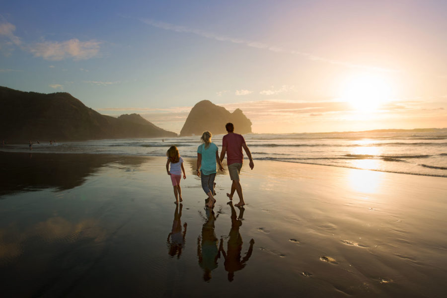 Piha Beach, Auckland, New Zealand family guided tour traveling with kids