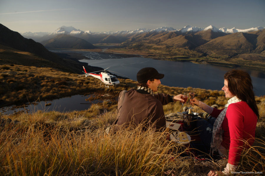 Helicopter and mountains, luxury guided New Zealand honeymoon