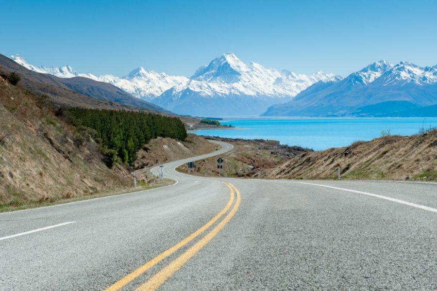 Driving in New Zealand past Aoraki/Mt Cook on the South Island on escorted tours for families
